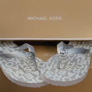 Michael Kors NWT Silver Flip Flops
